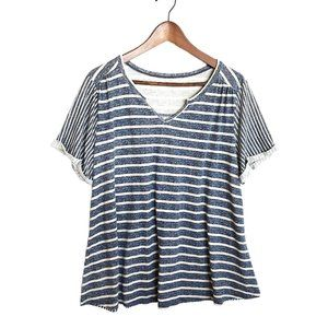 Sonoma Womens V-Neck T Shirt Size 1X Striped Tee